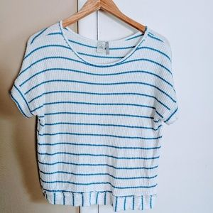 Blue and White Striped Top With Open Back